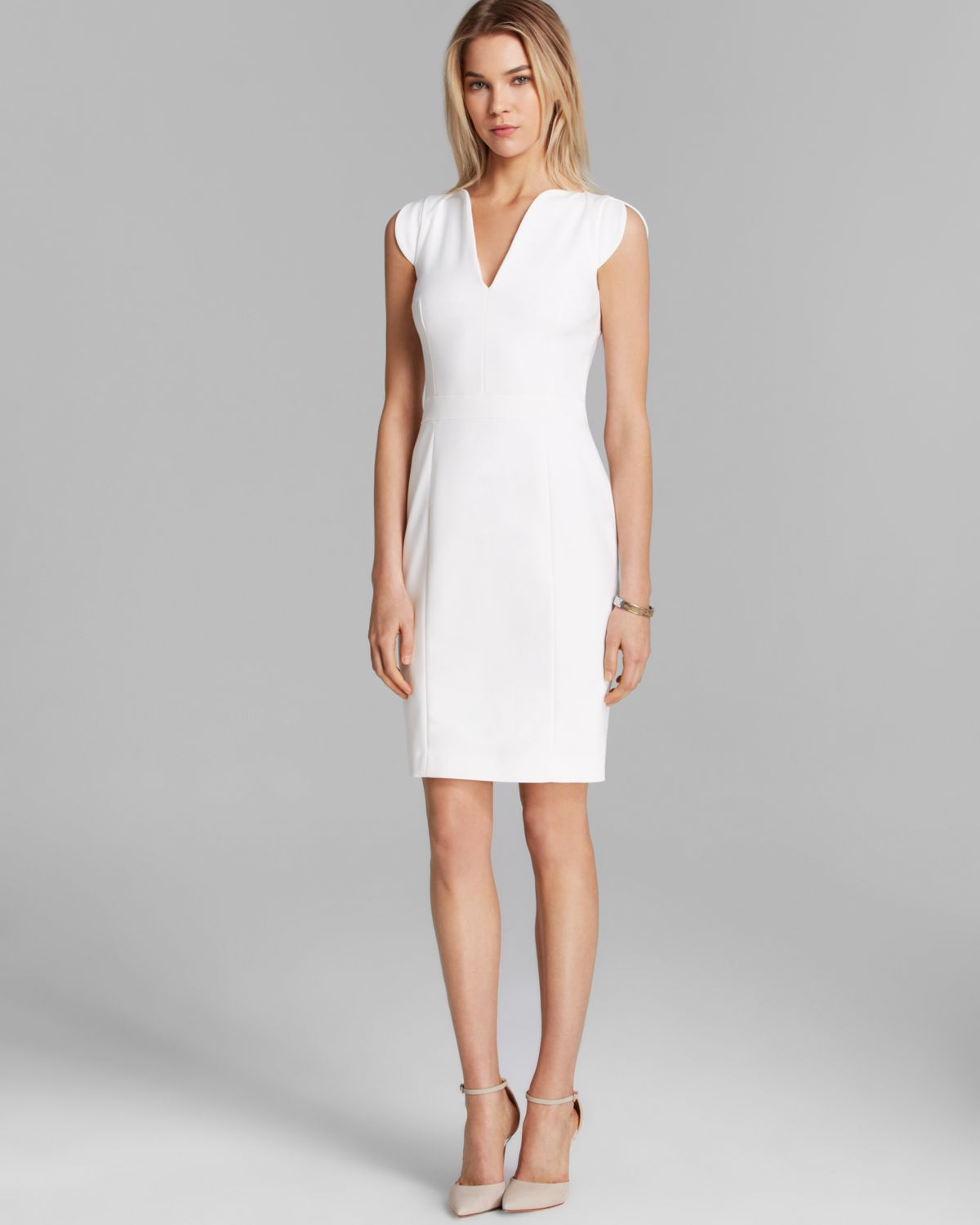 French connection dress lolo stretch classics in white lyst for French connection shirt dress