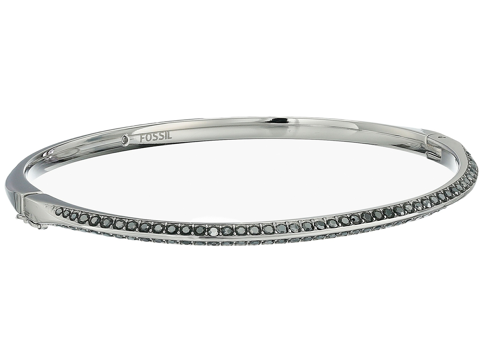 Lyst Fossil Oval Pav 233 Bangle In Metallic