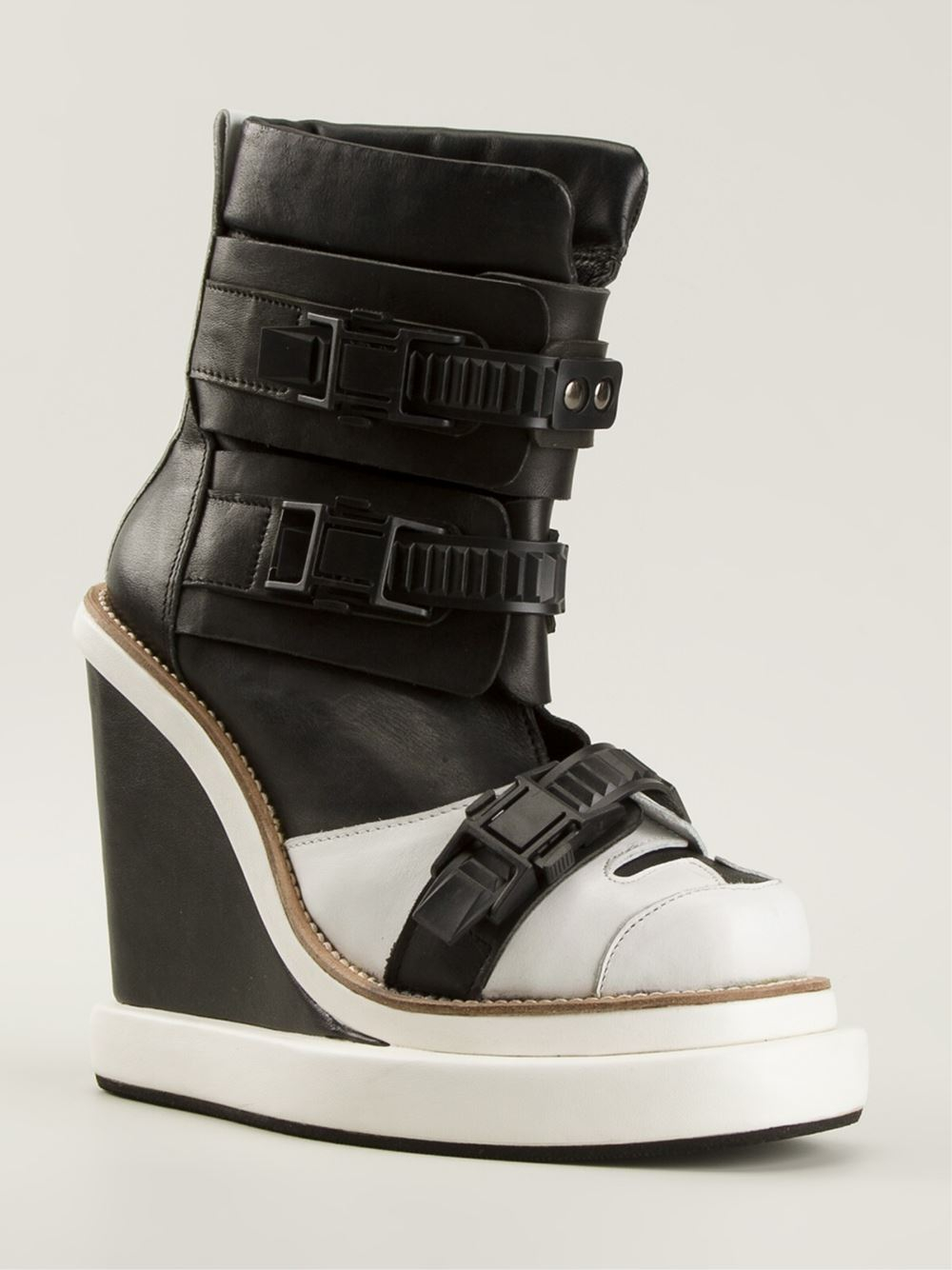 Lyst Ktz Buckled Wedged Boots In Black