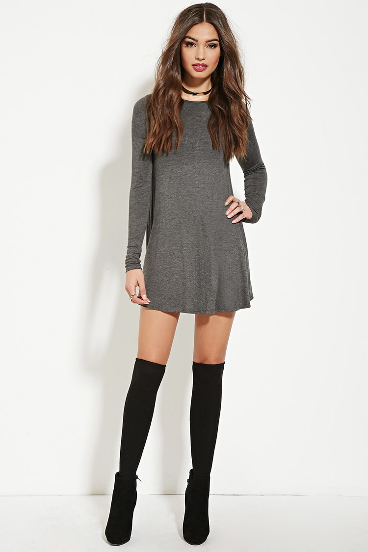 Forever 21 Mini T-shirt Dress in Gray | Lyst