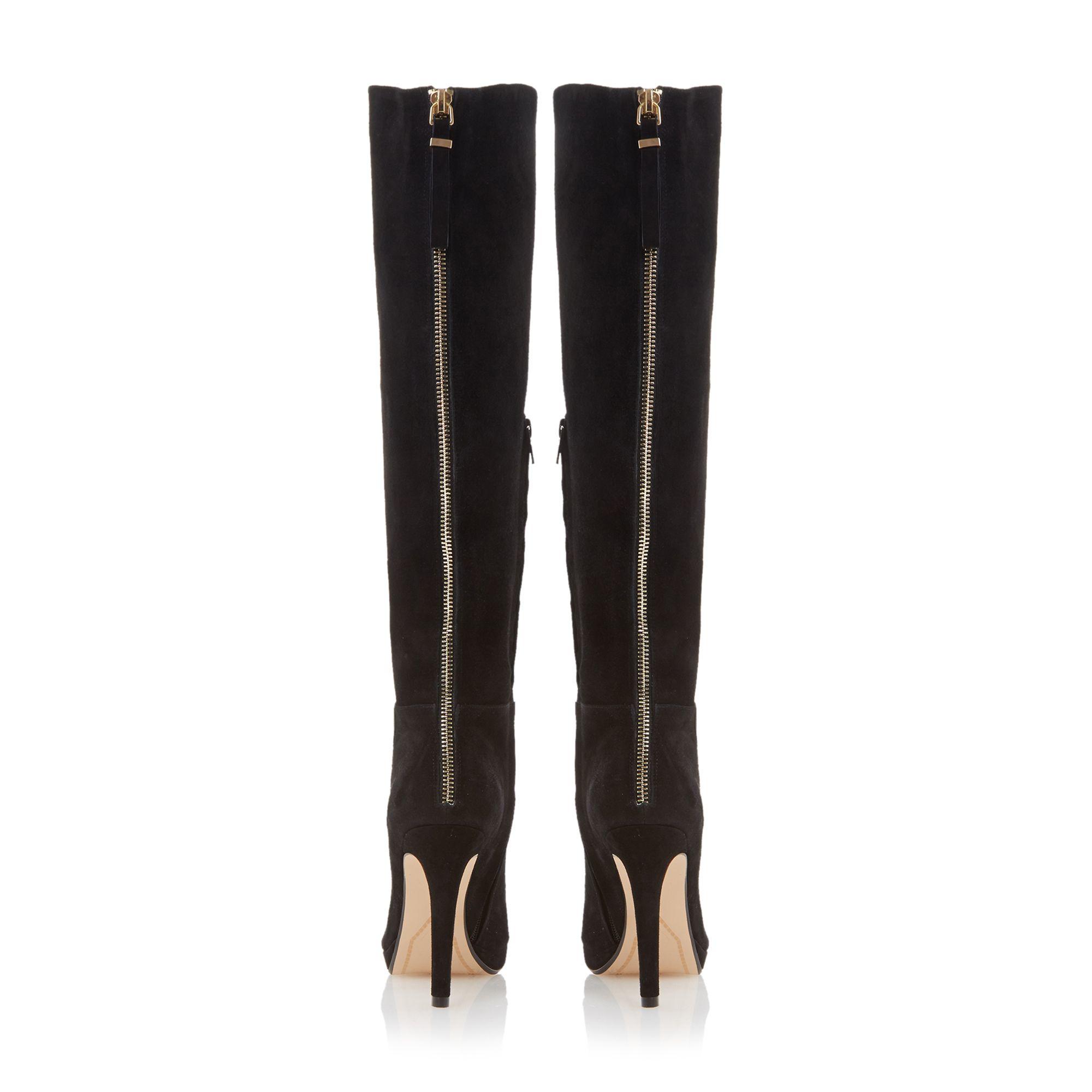 dune skyler suede high heel knee high boots in black lyst