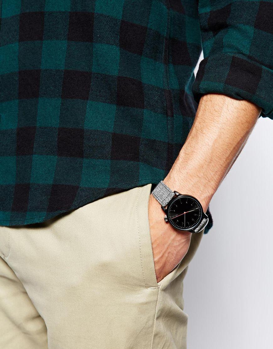 Komono Winston Herringbone Strap Watch In Black For Men Lyst