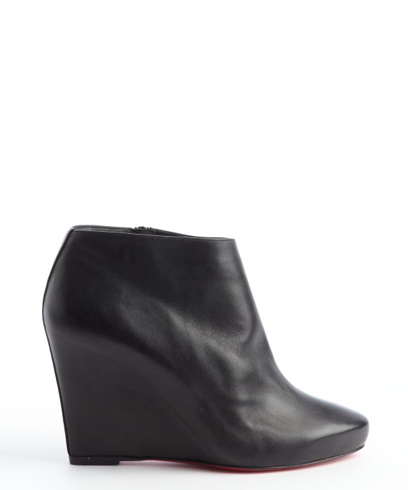 Christian louboutin Black Leather Melisa Booty 85 Wedge Ankle ...