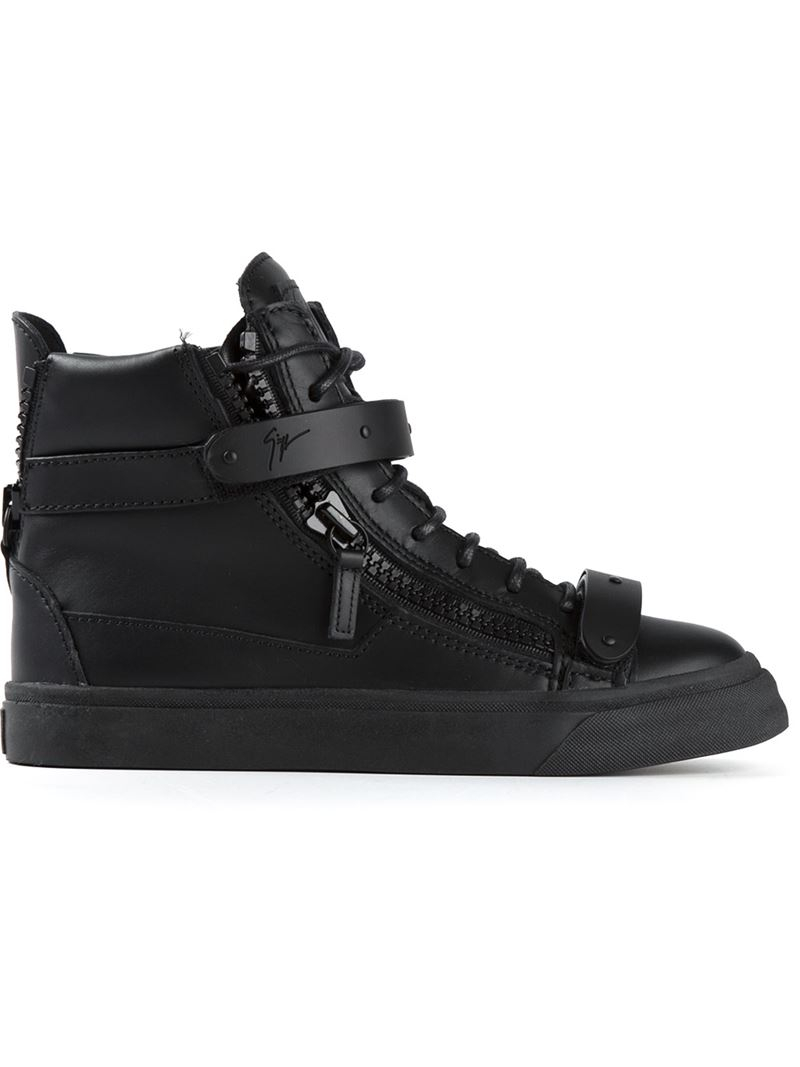 Giuseppe Zanotti Leather Hi-top Sneakers in Black