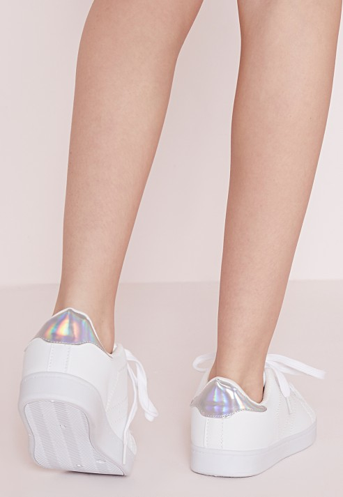 Missguided Silver Tab Tennis Trainers White