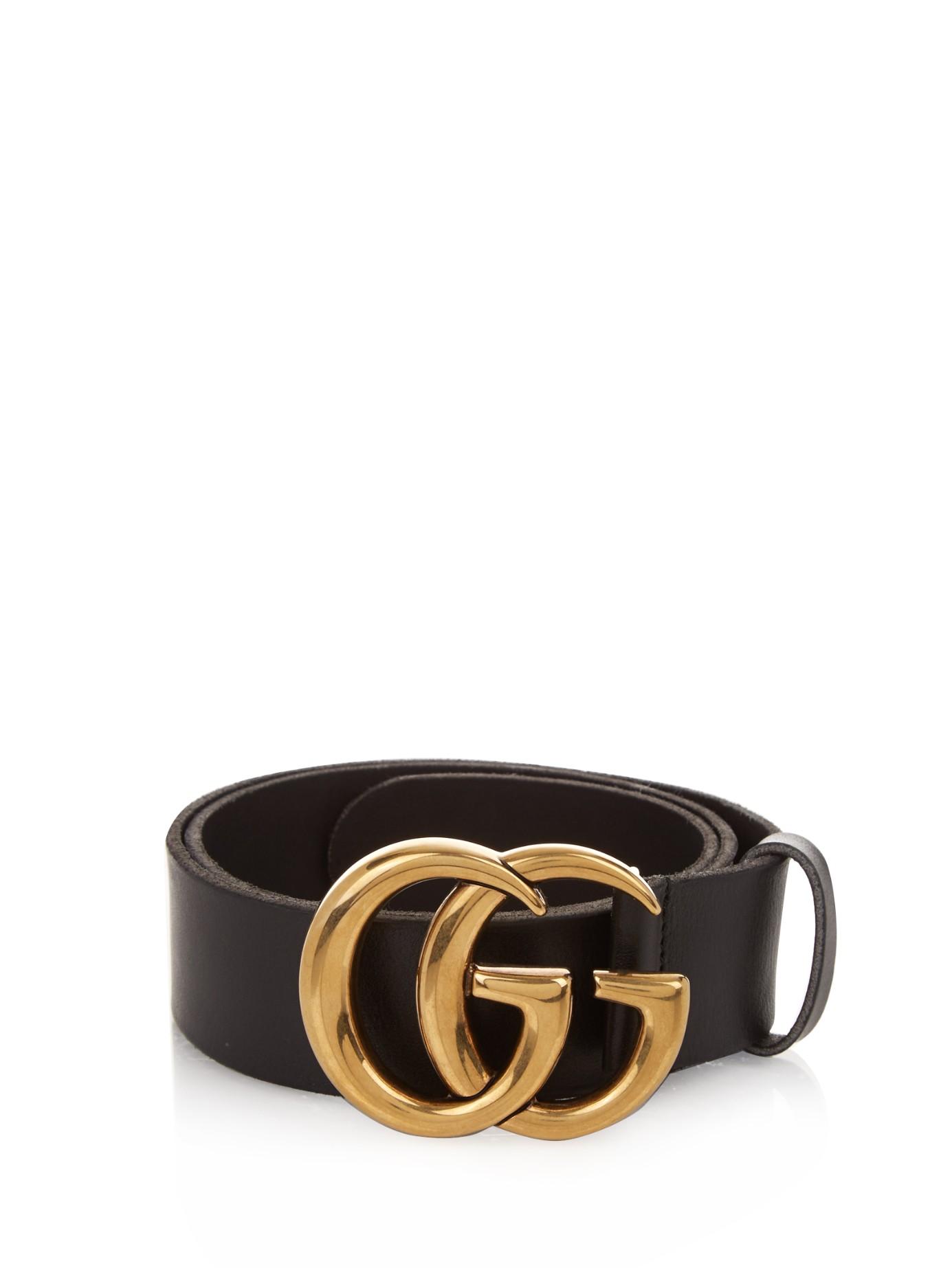 4c19ba7b Gucci Black Gg-logo Leather Belt