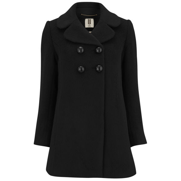 Orla kiely Womens Teddy Bear Wool Short Peacoat in Black | Lyst