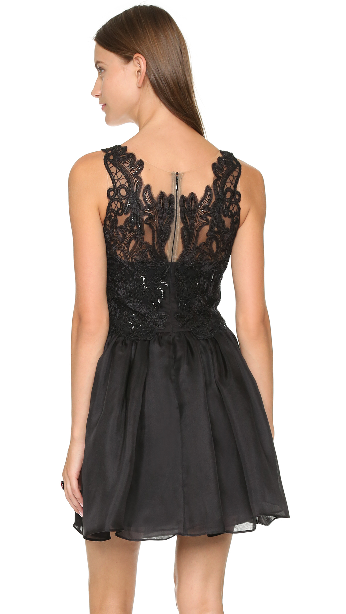 lyst notte by marchesa silk cocktail dress black in black
