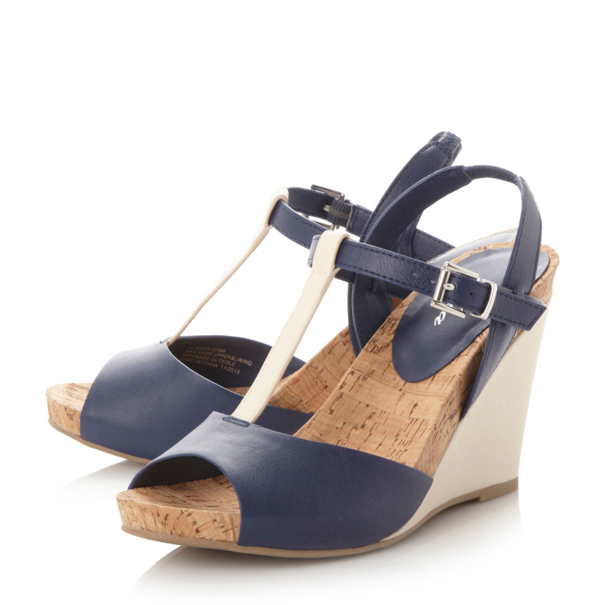 linea klipper t bar wedge sandals in pink navy lyst