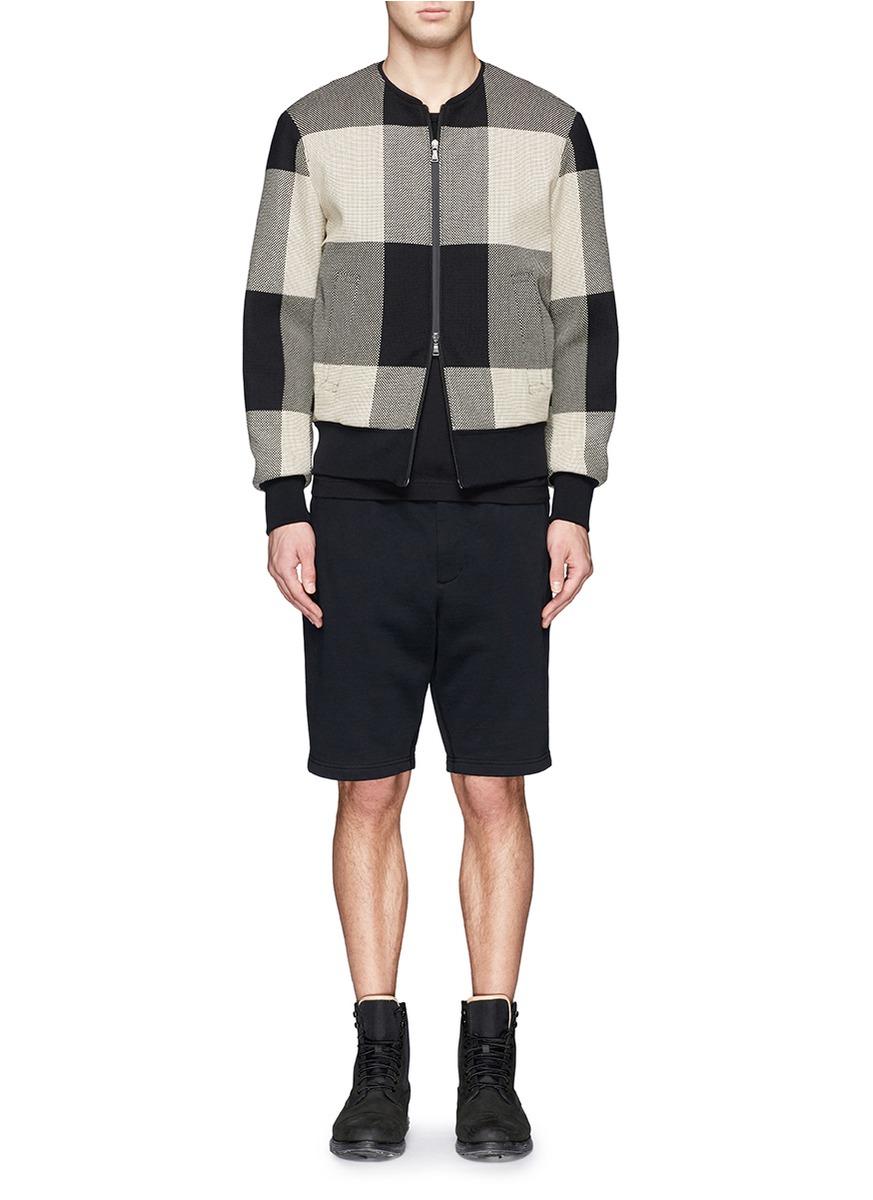 Neil Barrett Large Check Pattern Bomber Jacket in Grey for Men