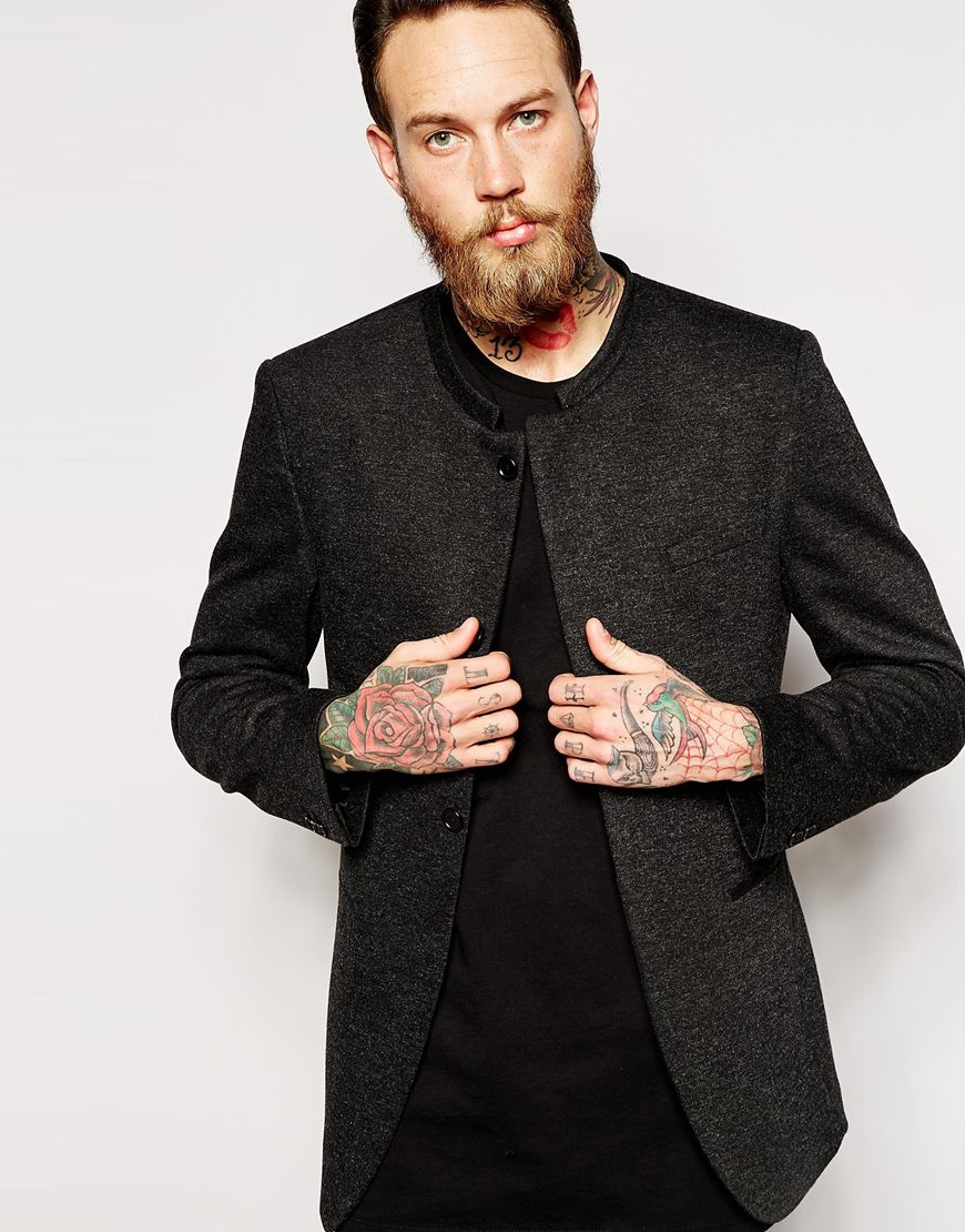 Lyst Asos Skinny Blazer In Jersey With Mandarin Collar