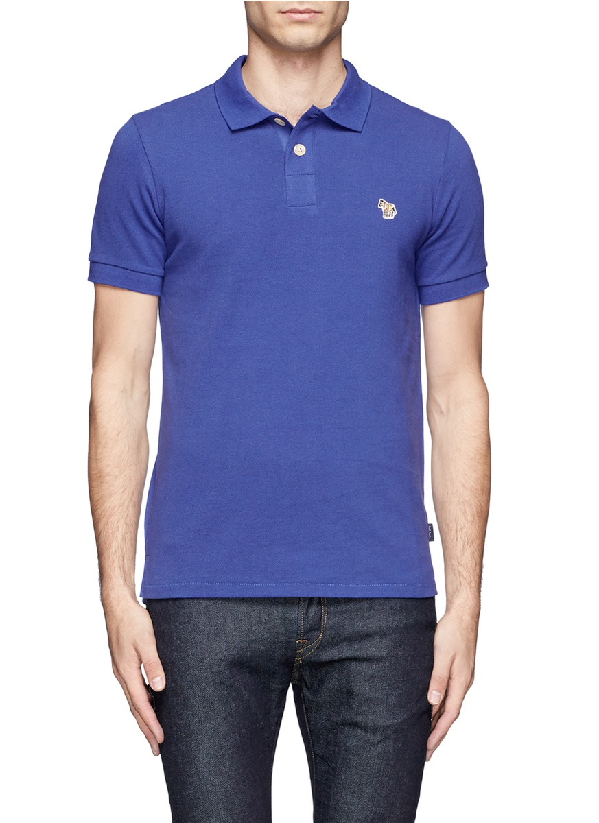 Lyst paul smith zebra logo polo shirt in blue for men for Polo shirt and jeans