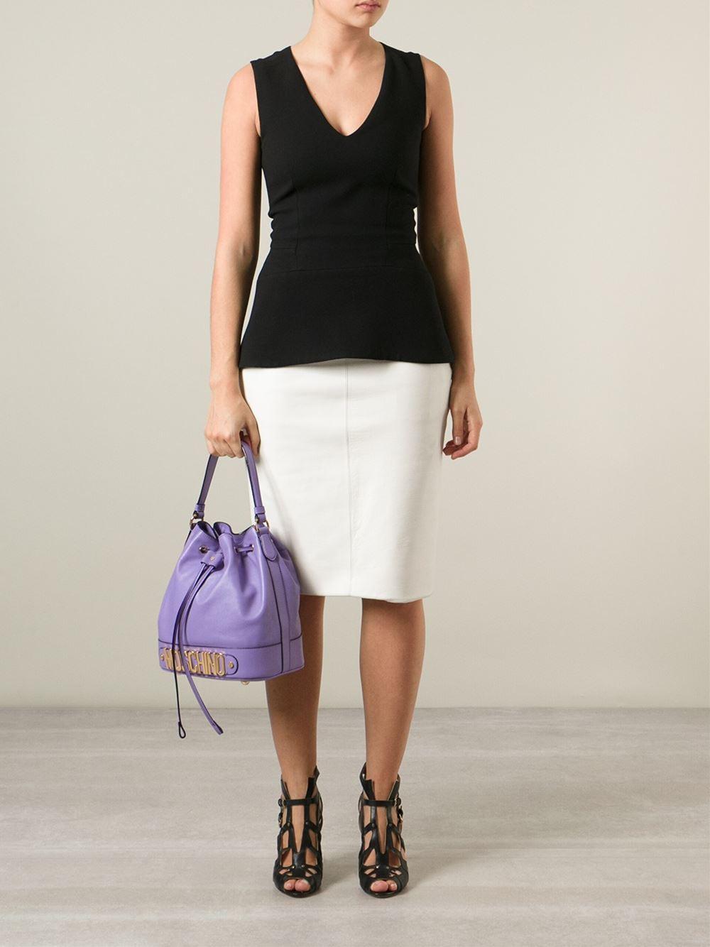 Moschino Logo Bucket Shoulder Bag in Purple | Lyst