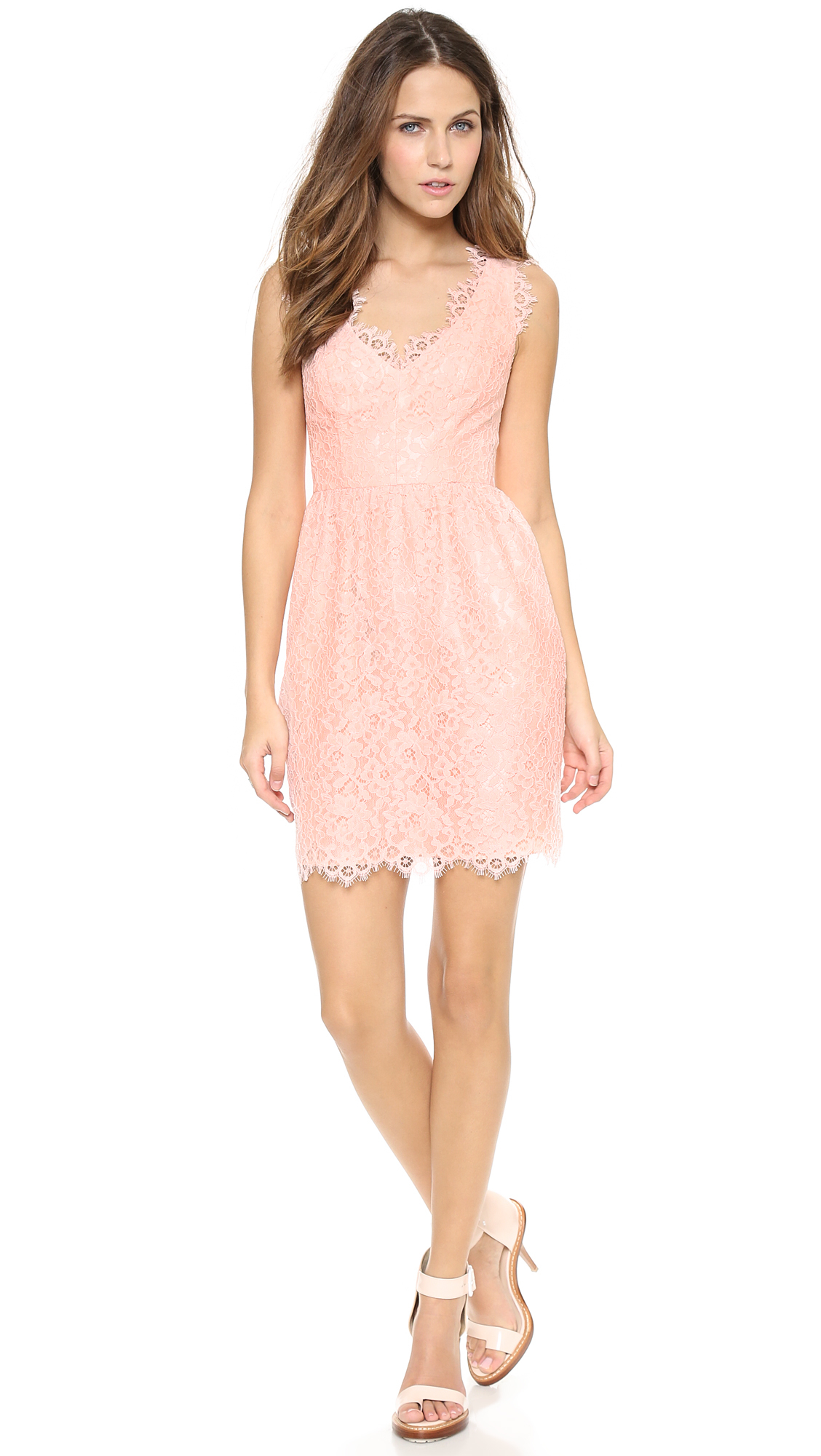 Shoshanna Lace Sierra Dress Petal in Pink   Lyst