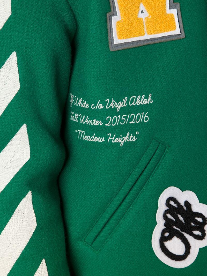 Off-white c/o virgil abloh Striped Varsity Jacket in Green ...