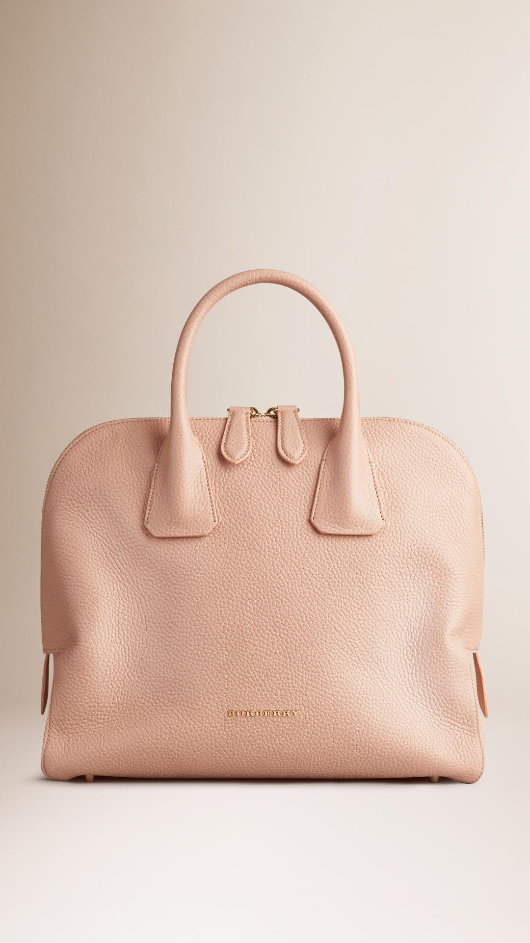 Lyst - Burberry Medium Grainy Leather Bowling Bag in Pink 1a32999fddb6a
