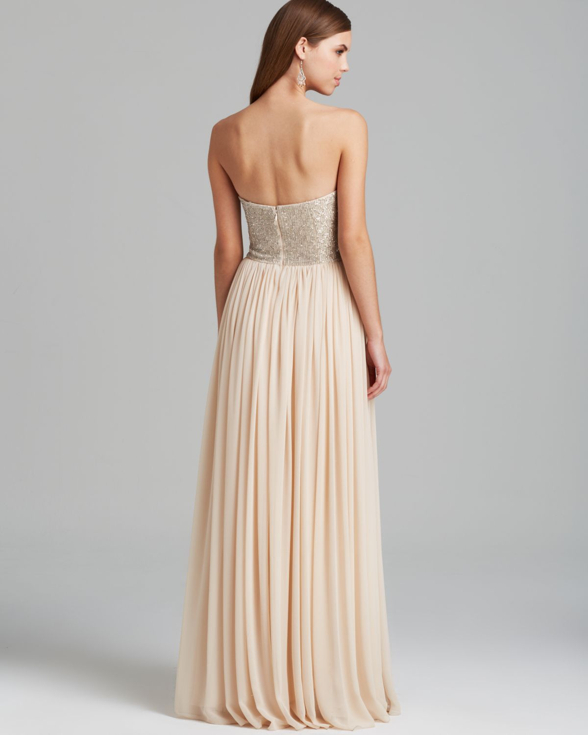 Lyst - Aidan Mattox Gown - Strapless Beaded Bodice With Pleated ...