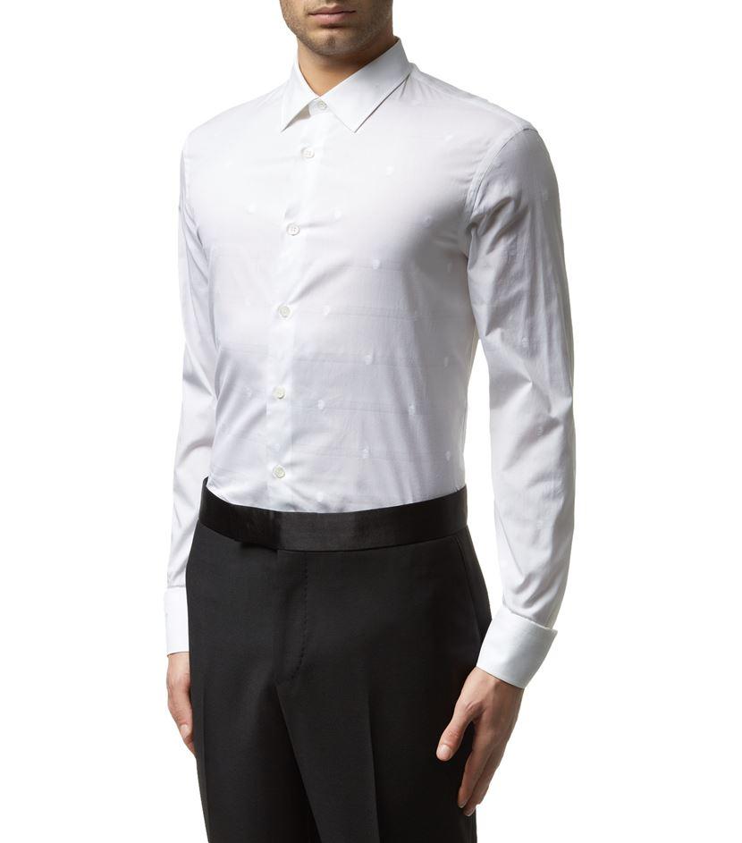 Lyst alexander mcqueen tonal skull shirt in white for men for Alexander mcqueen shirt men