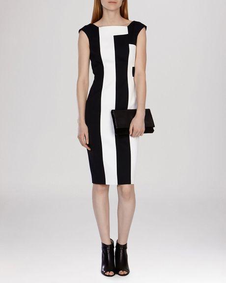 karen millen dress vertical striped in black black and