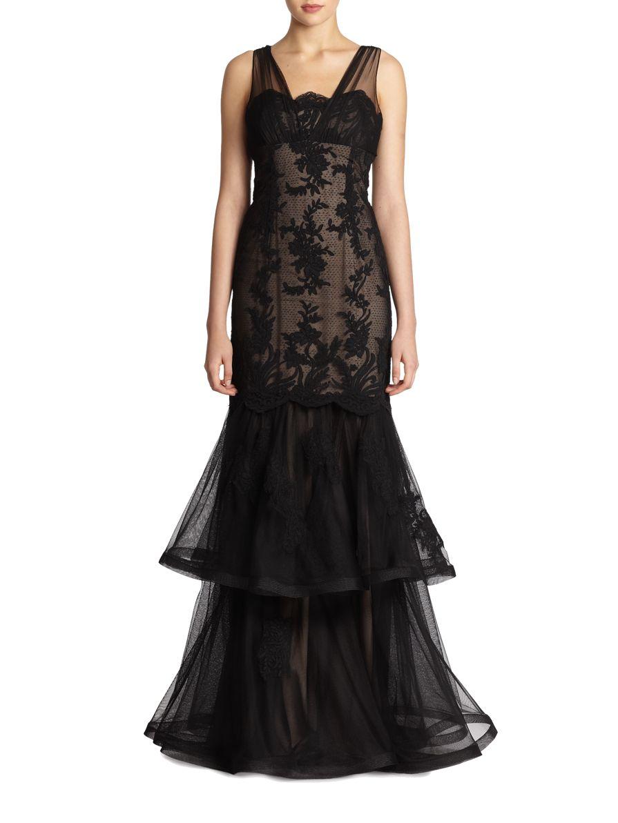 teri jon lace amp chiffon mermaid gown in black black nude
