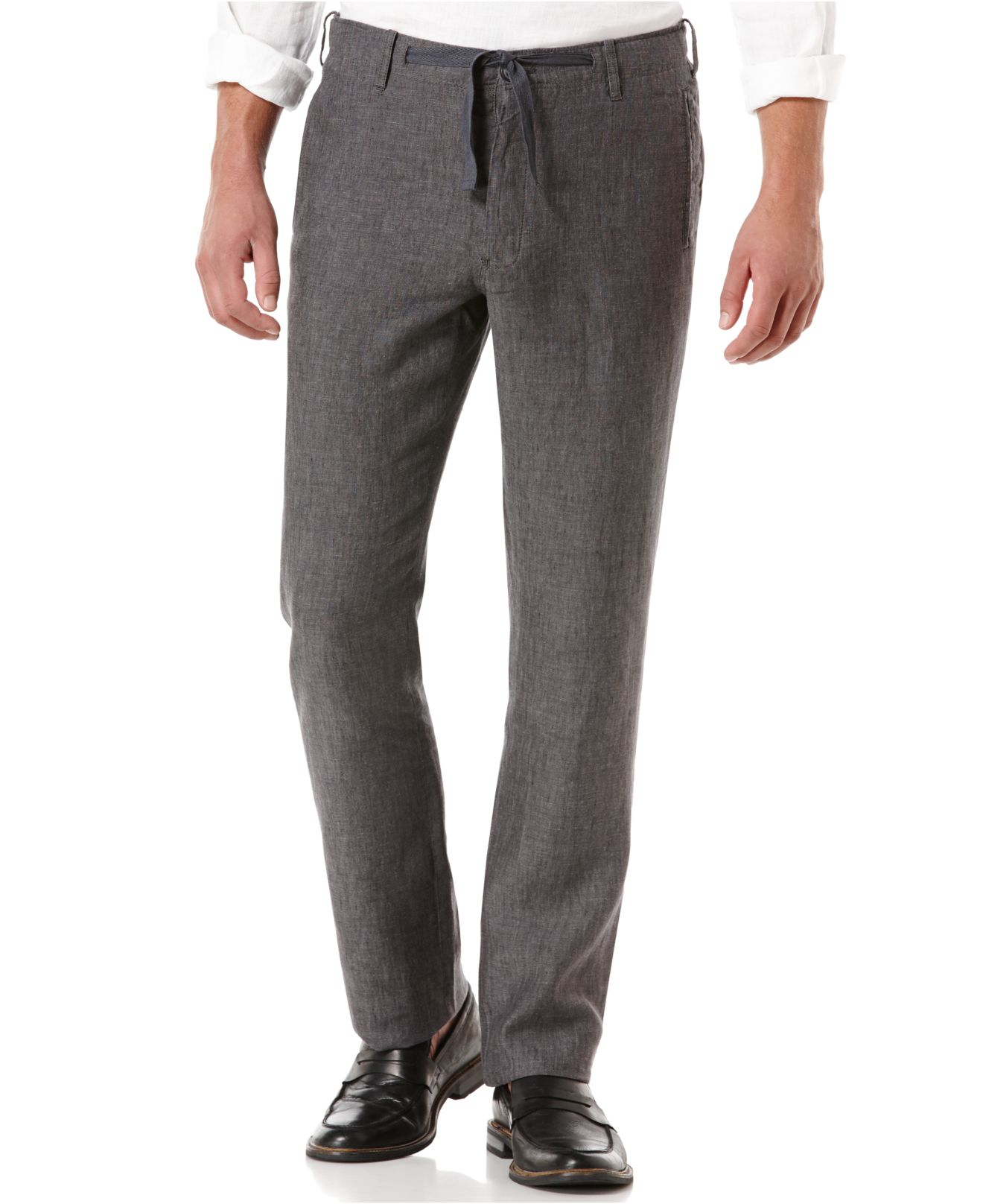 Perry ellis Big And Tall Drawstring Linen Pants in Gray for Men | Lyst