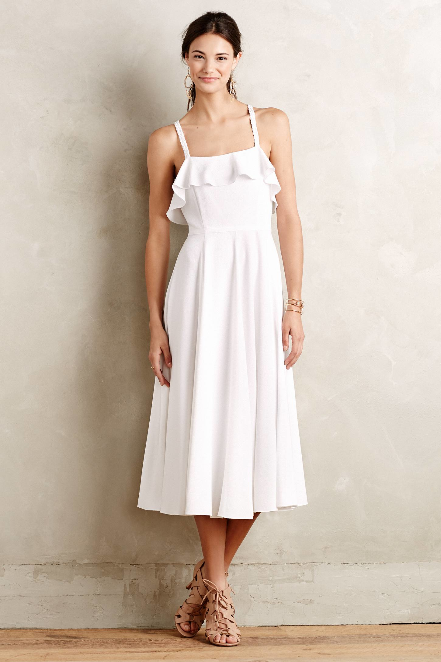 Shoshanna Damia Midi Dress in White | Lyst