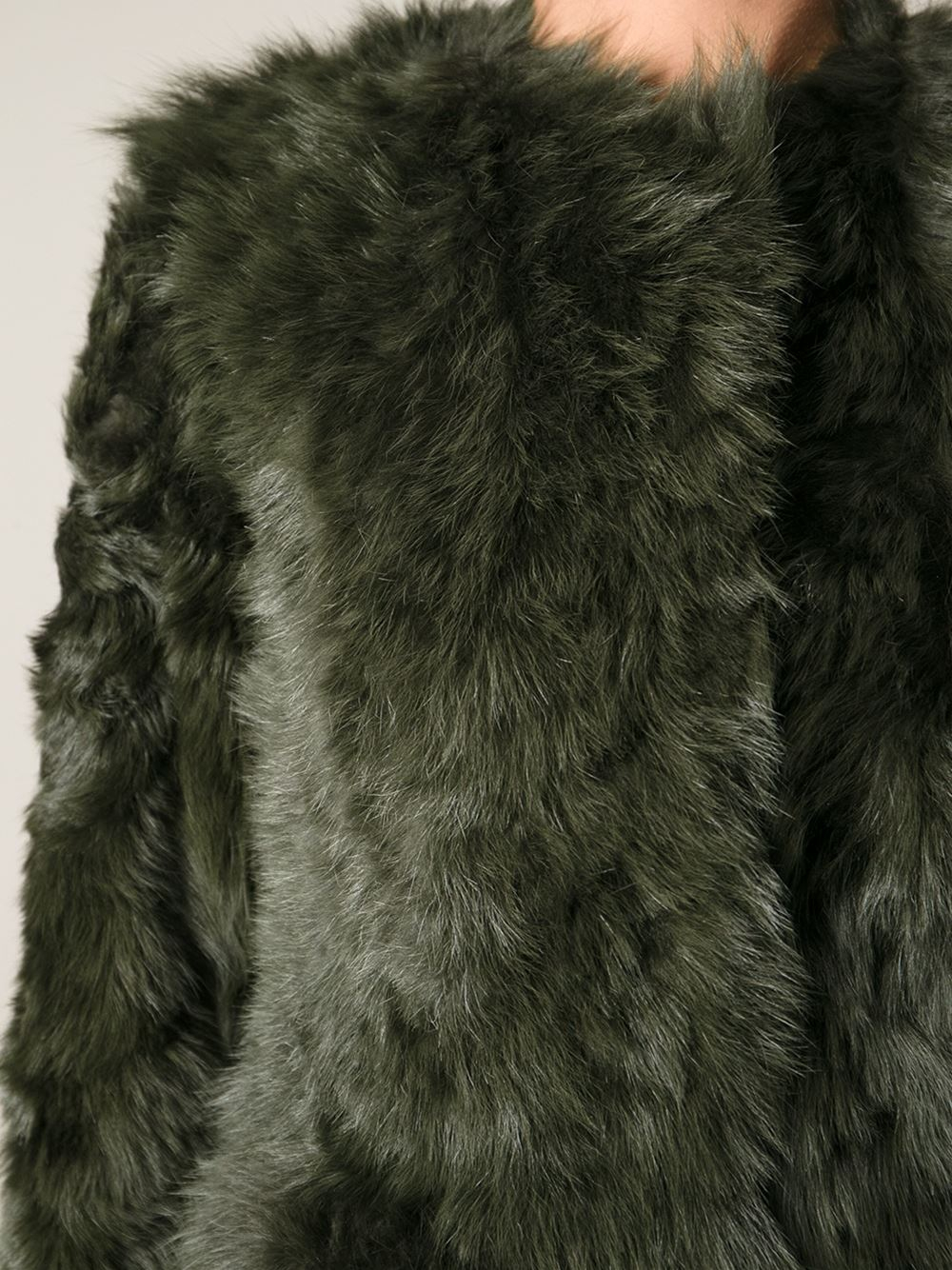 Drome Shaggy Shearling Coat in Green | Lyst