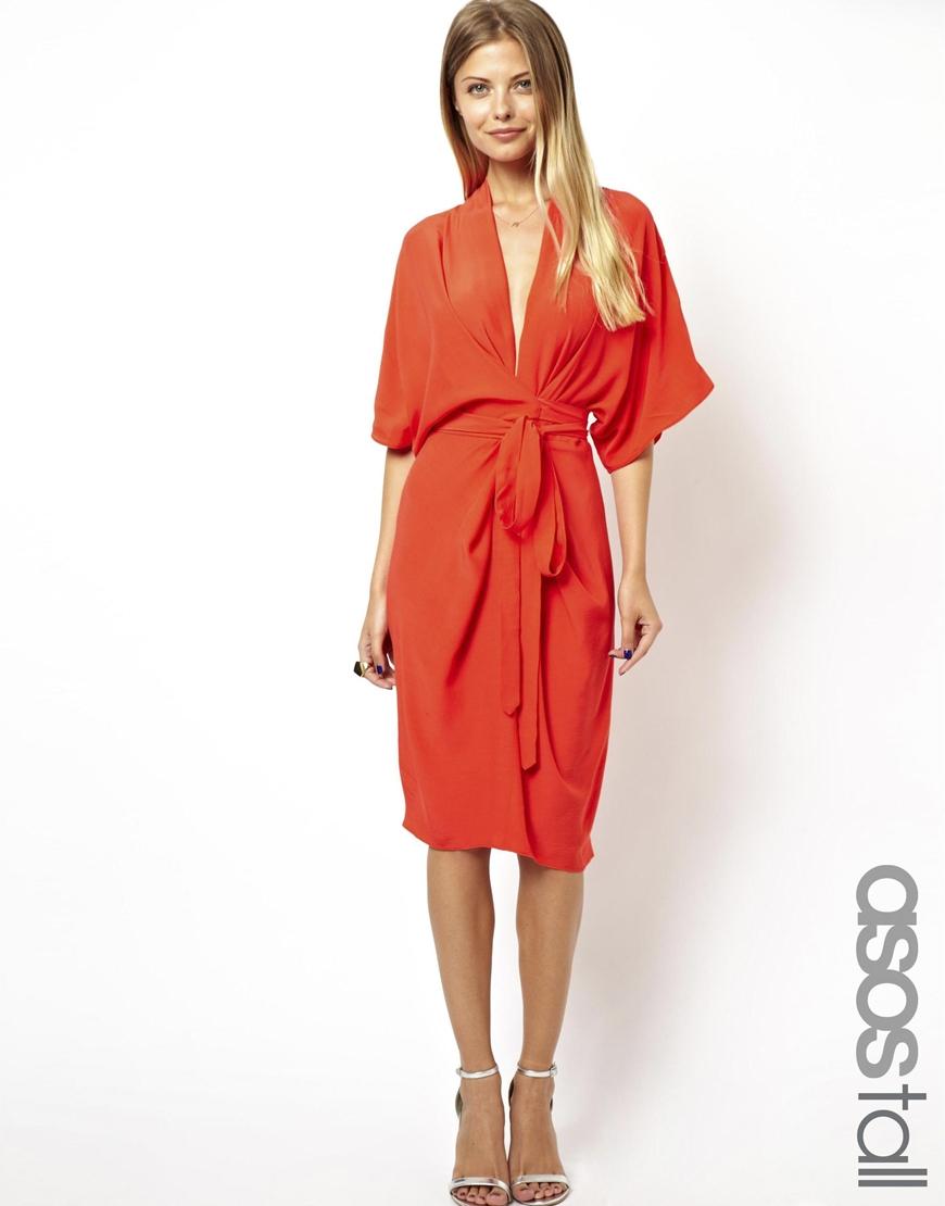 asos midi dress with obi belt in lyst