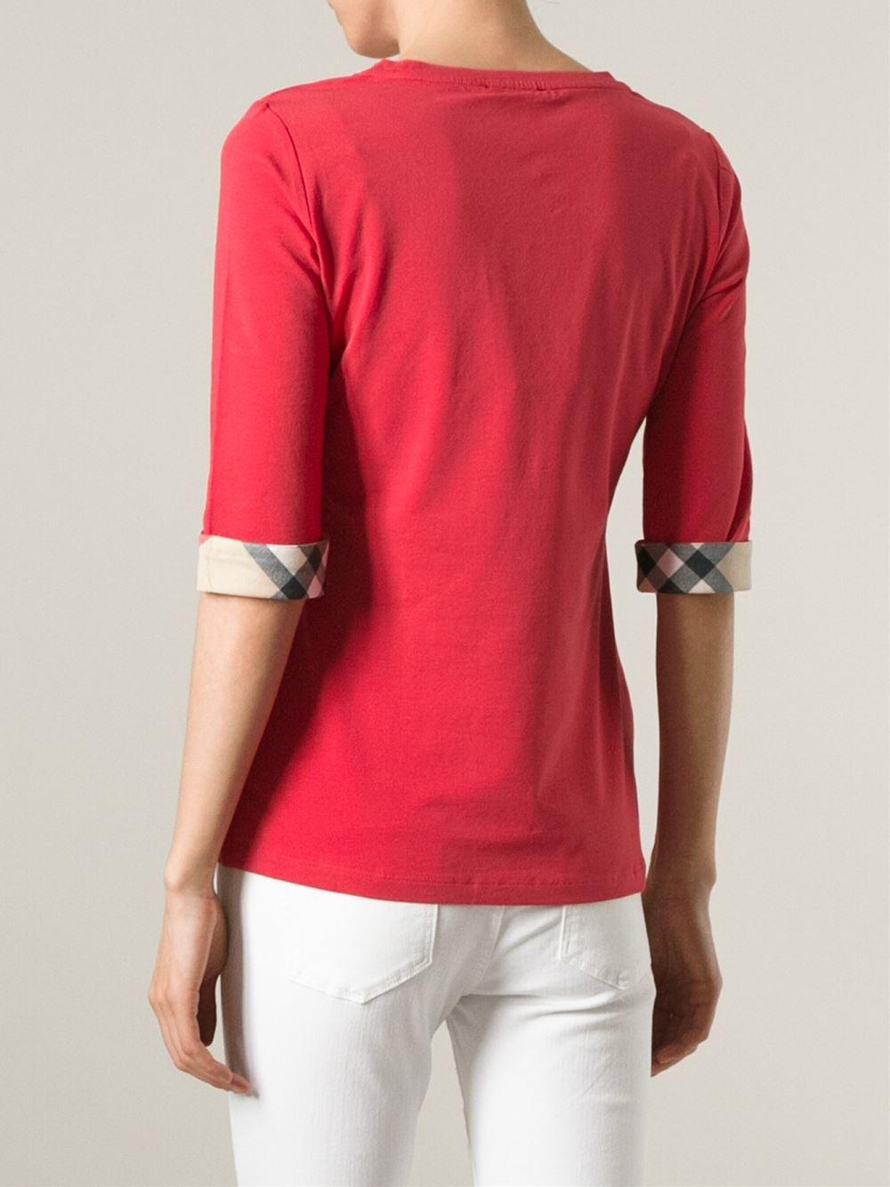 Lyst burberry brit three quarter length t shirt in pink for Three quarter length shirt