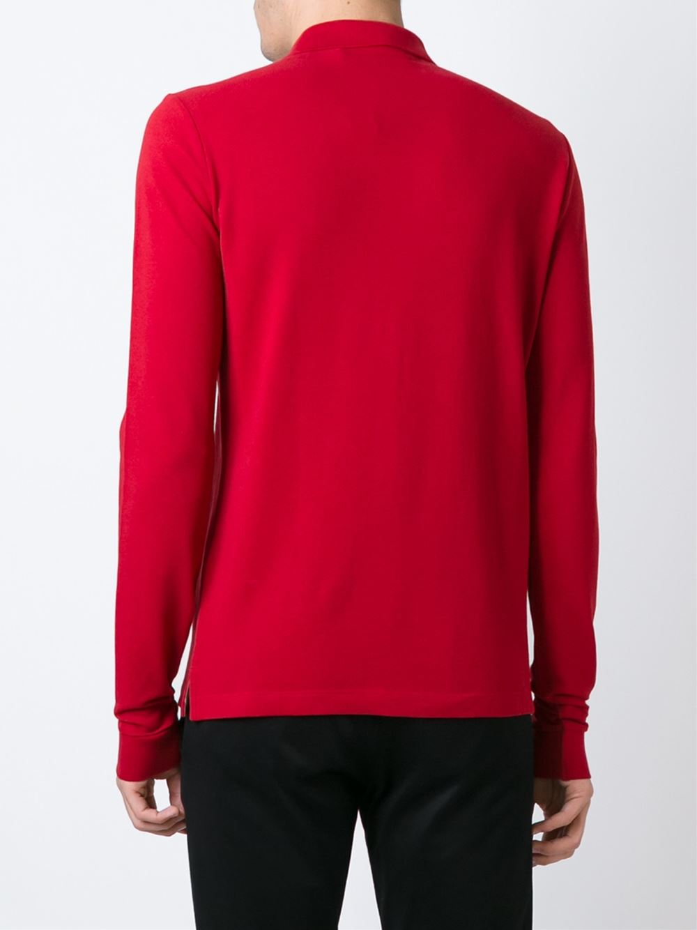 f89ce323bad4 Burberry Brit Long Sleeve Polo Shirt in Red for Men - Lyst