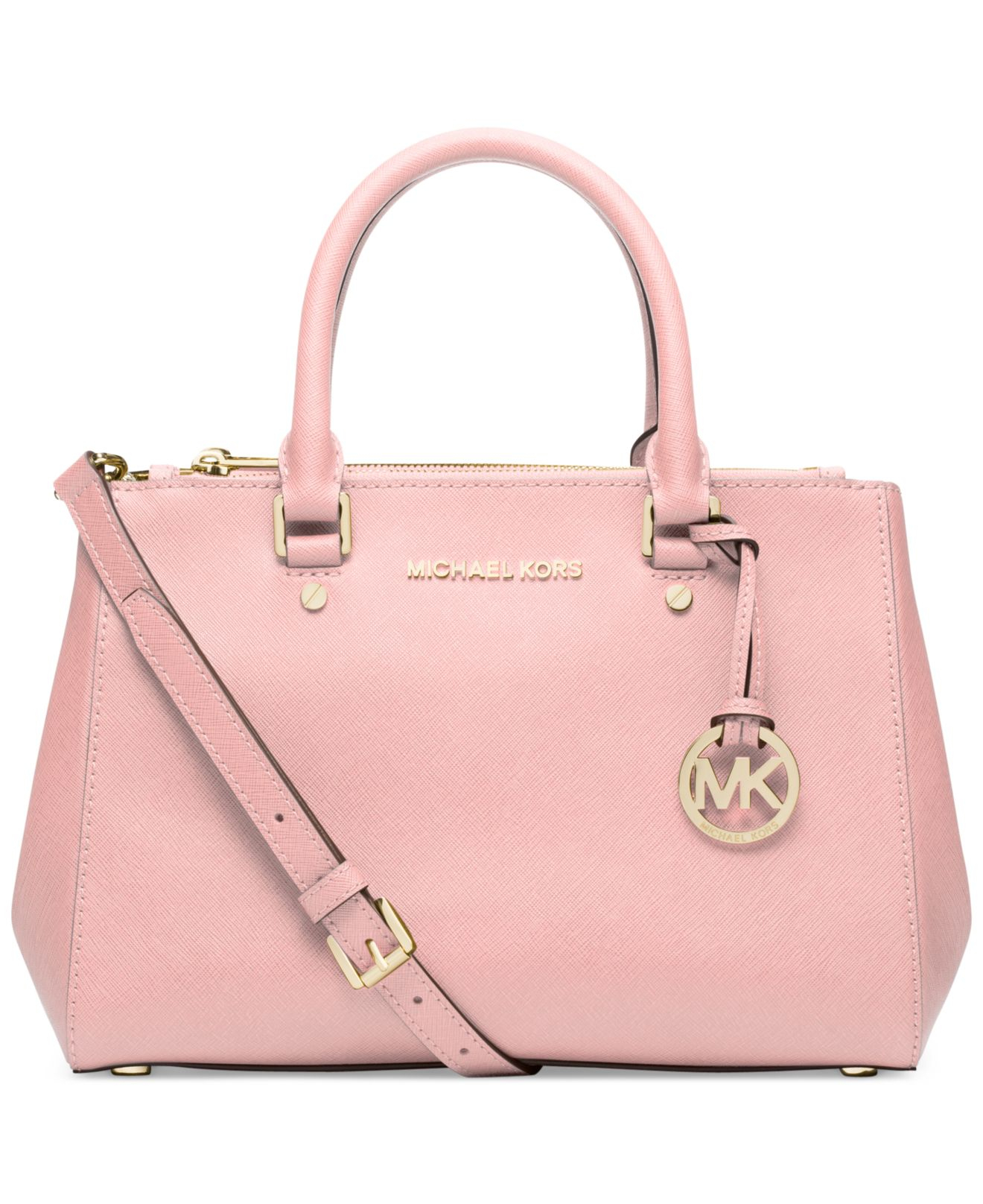 michael kors michael sutton small satchel in pink lyst. Black Bedroom Furniture Sets. Home Design Ideas