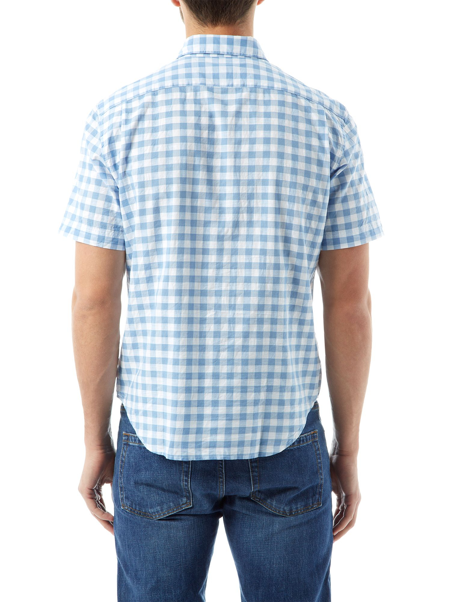 Lacoste Gingham Short Sleeve Button Down Shirt In Blue For
