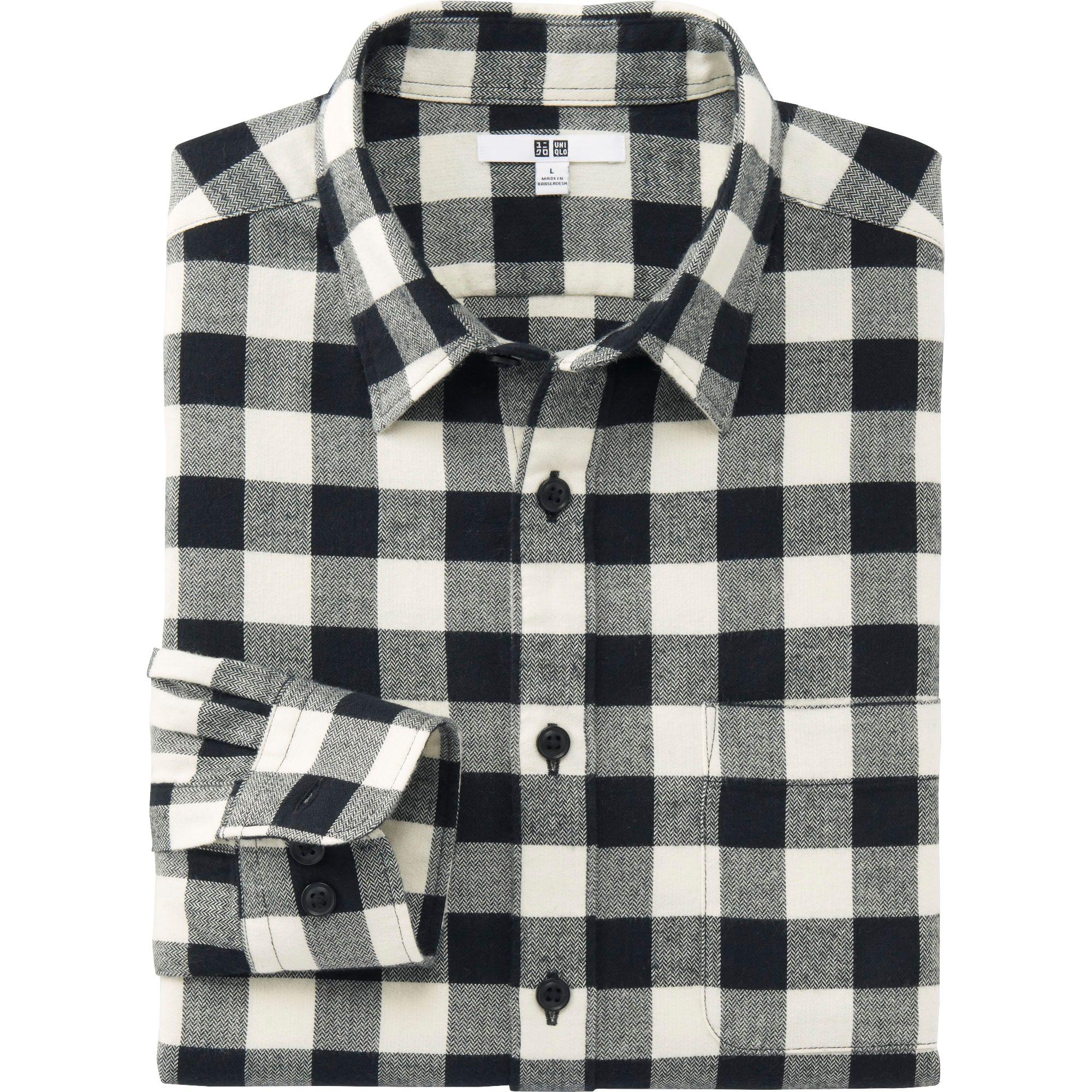 732140b5df7e Lyst - Uniqlo Men Flannel Buffalo Check Long Sleeve Shirt in Black ...