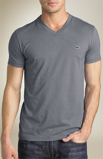 a00d307744ea Lyst - Lacoste Pima Cotton Jersey V-neck T-shirt in Gray for Men