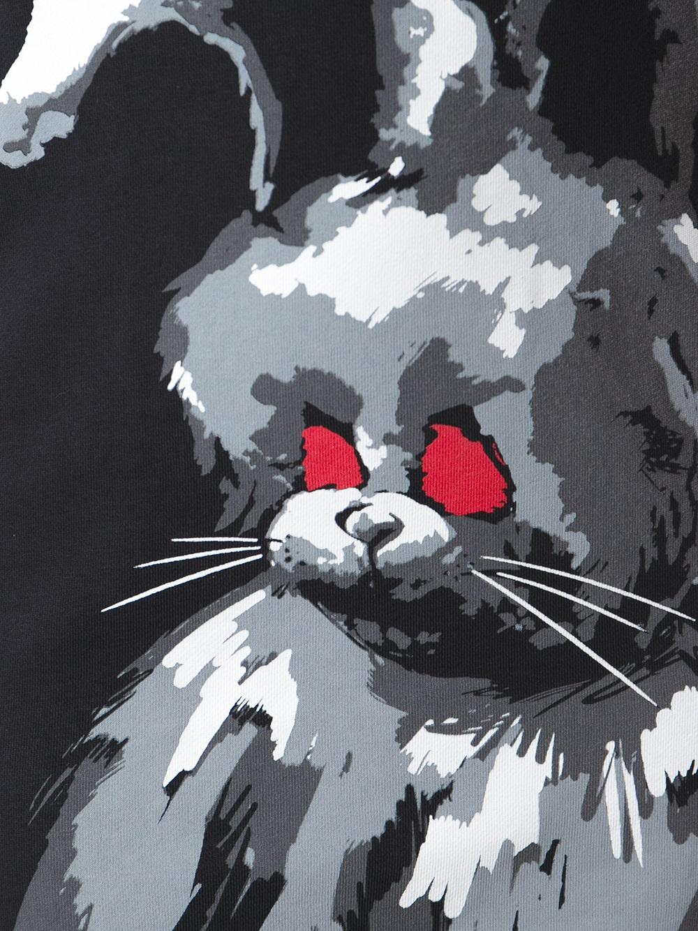 McQ Angry Rabbit Print Sweatshirt Dress in Black