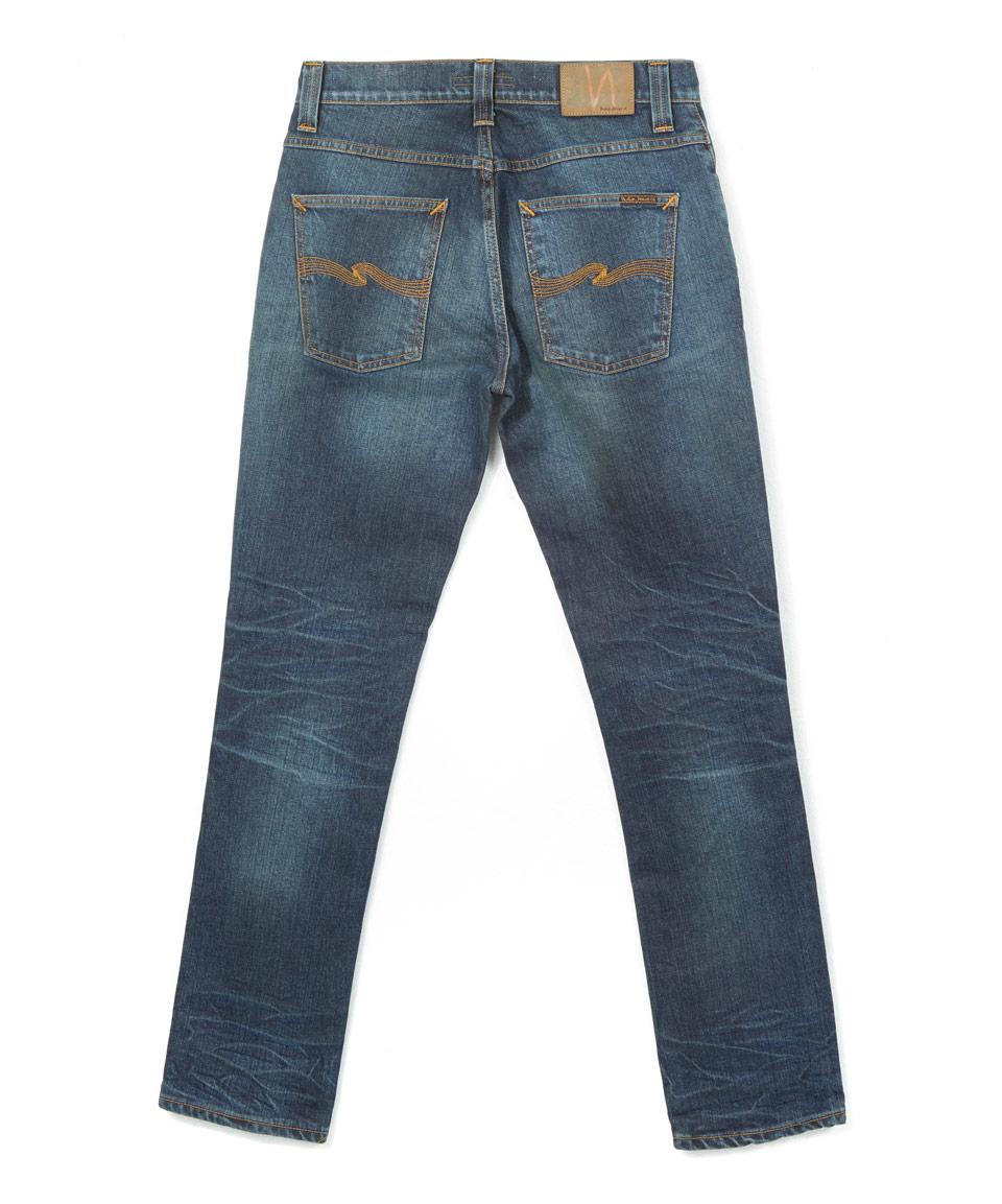 nudie jeans dark blue grim tim jeans in blue for men lyst. Black Bedroom Furniture Sets. Home Design Ideas