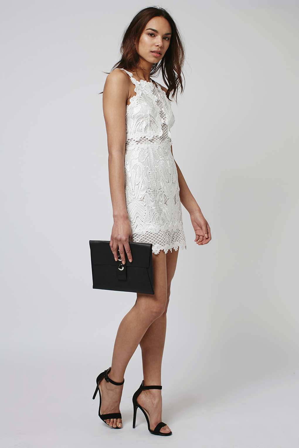 Topshop Petite Lace Detailed Bodycon Dress in White | Lyst