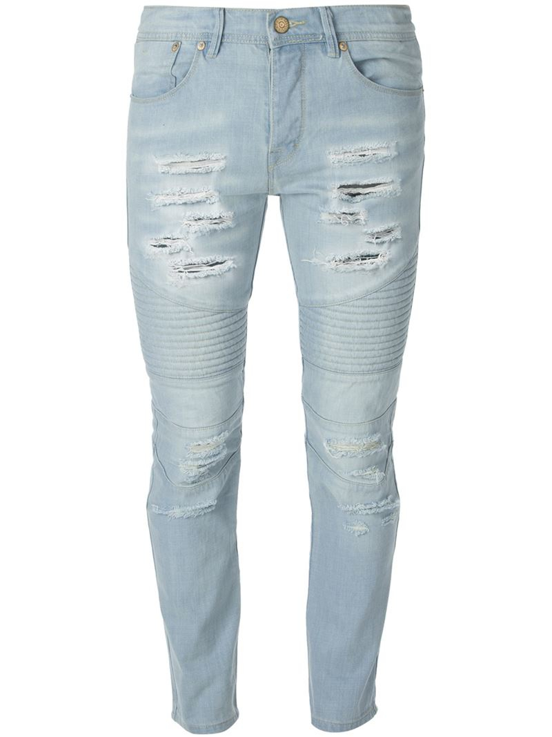 Stampd Ripped Skinny Jeans in Blue for Men