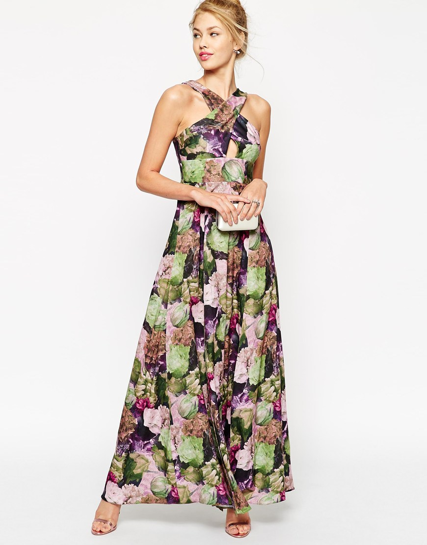 Asos Floral Print Cross Front Maxi Dress in Multicolor | Lyst