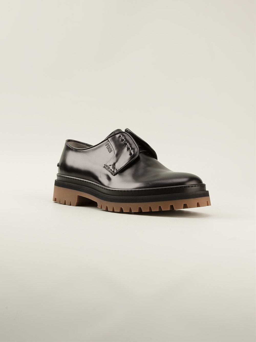 fendi chunky laceless derby shoes in black for lyst