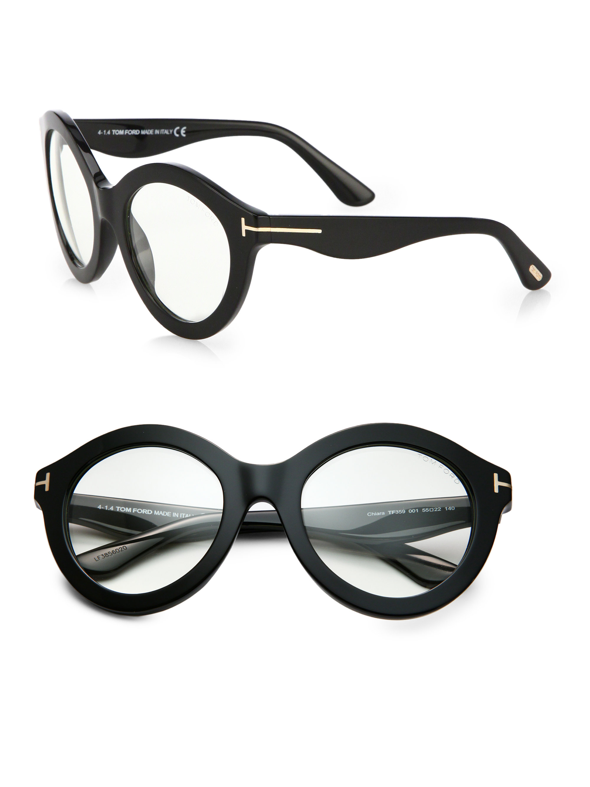 649426fb1afd Lyst - Tom Ford Exaggerated 55mm Round Optical Glasses in Black