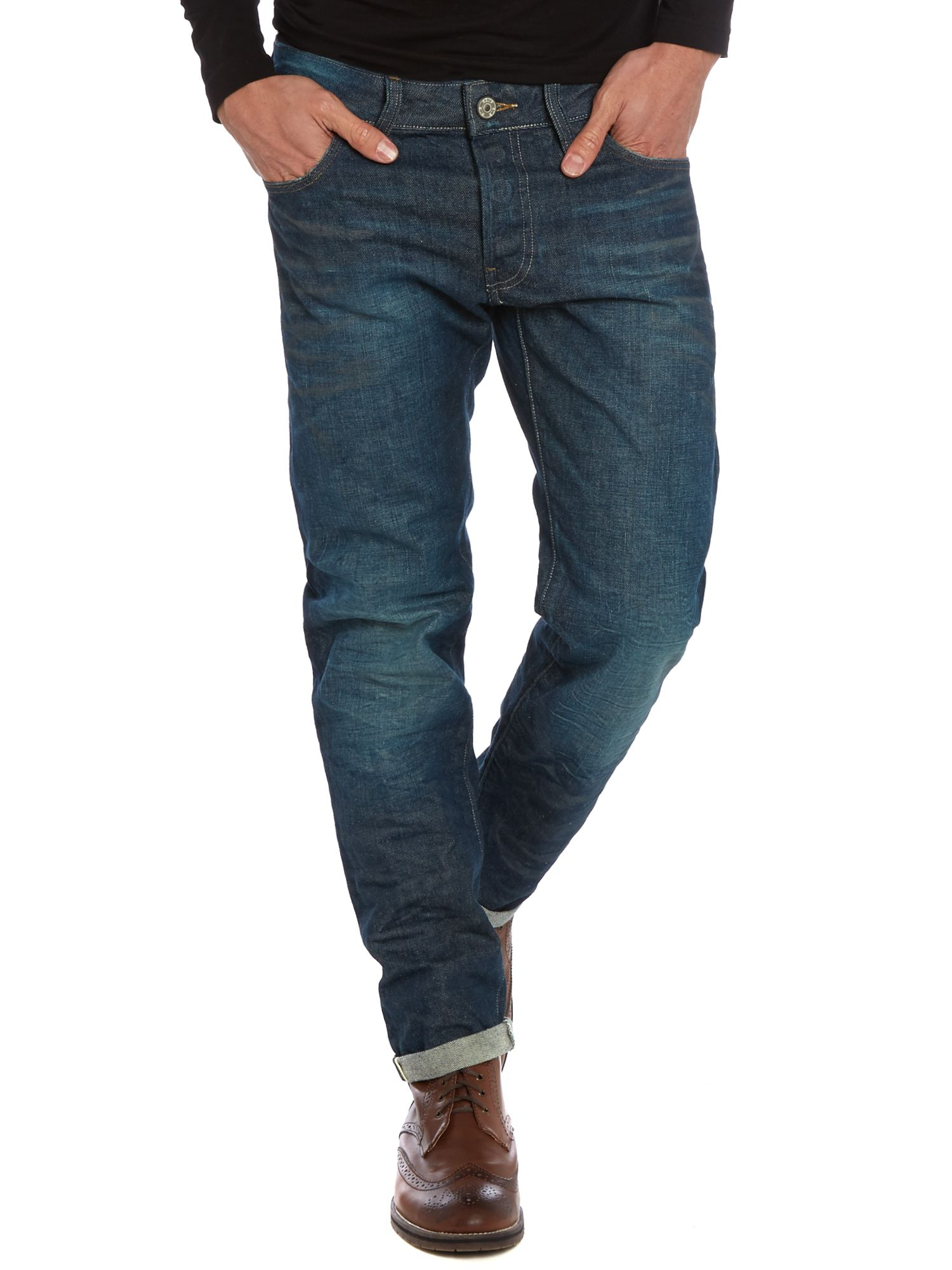 star raw low tapered jeans in blue for men lyst. Black Bedroom Furniture Sets. Home Design Ideas