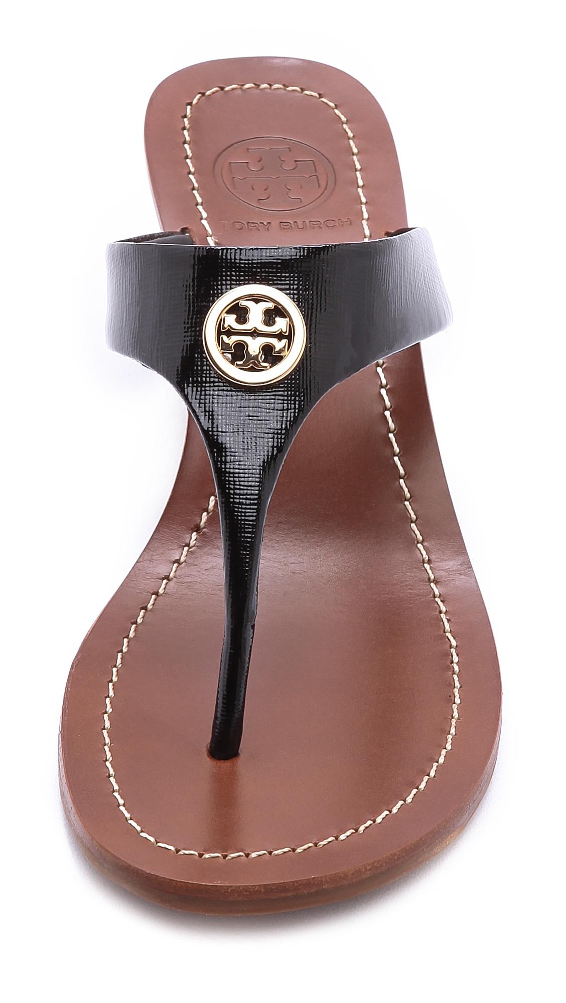 Tory Burch Cameron Wedge Thong Sandals Tangold In Metallic