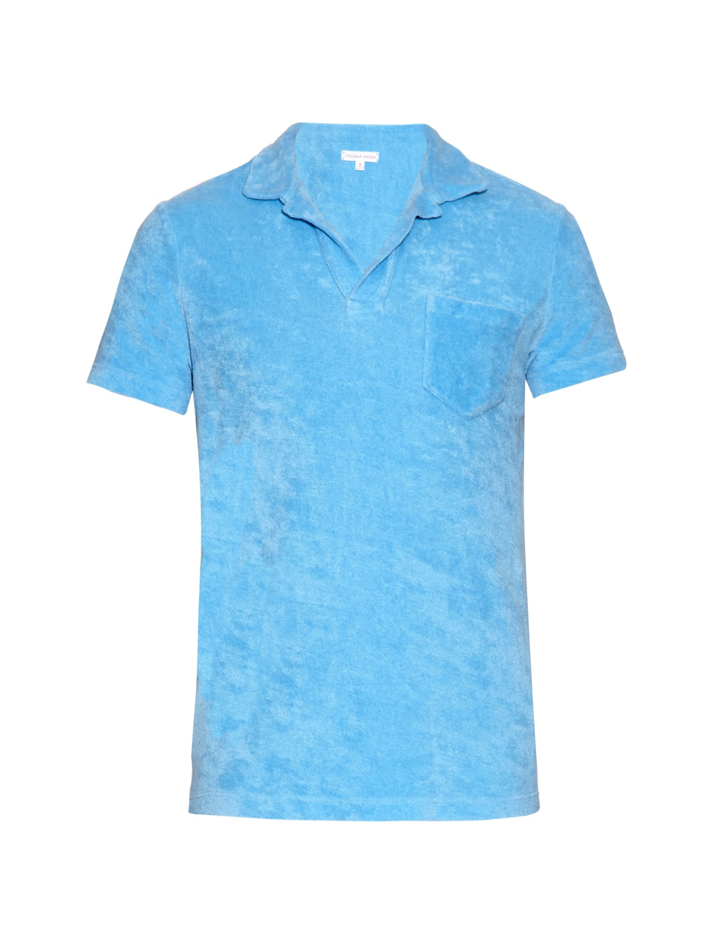 Orlebar brown terry towelling cotton polo shirt in blue for Mens terry cloth polo shirt