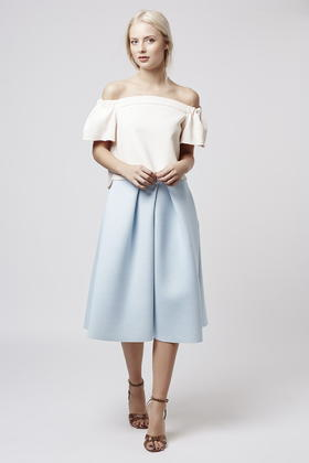 Topshop Pleated Front Midi Skirt in Blue | Lyst