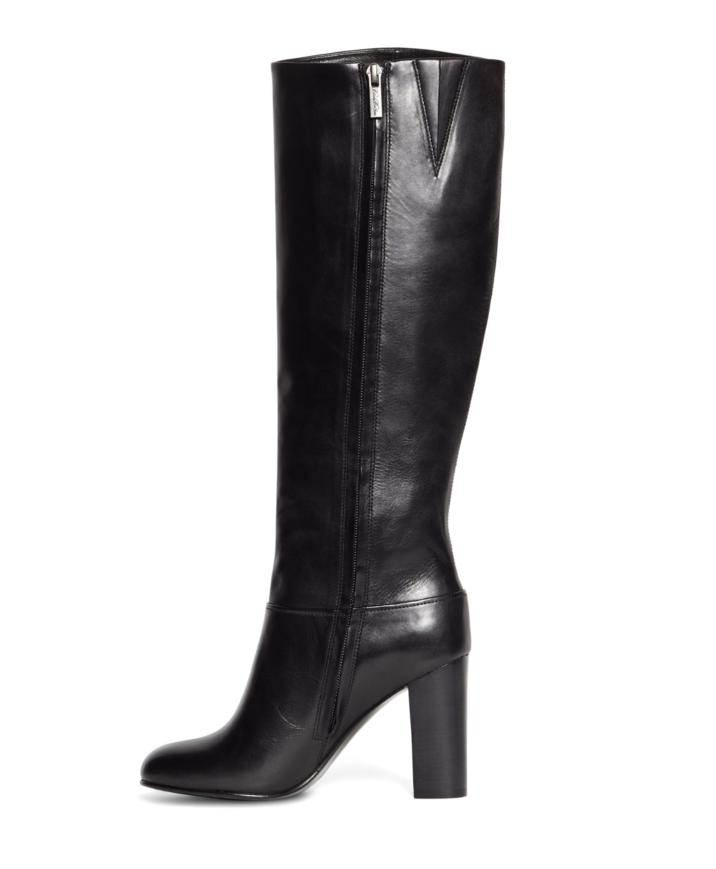 brooks brothers tall leather stacked heel boots in black