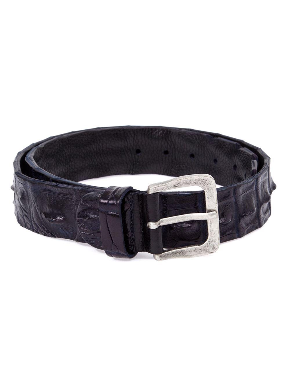 scunzani ivo crocodile leather belt in blue lyst