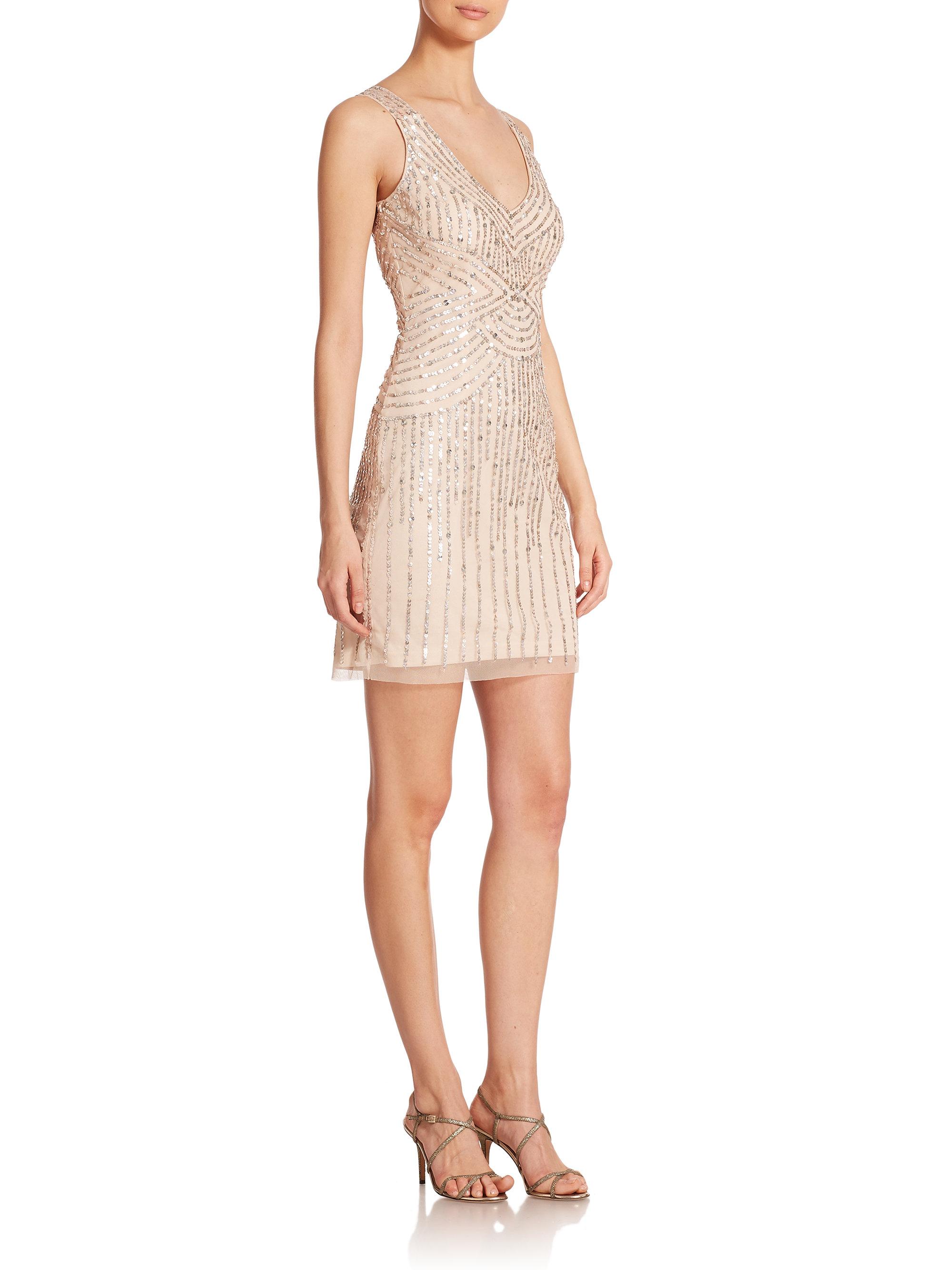 Lyst aidan mattox illusion back sequin bridesmaid dress in metallic gallery ombrellifo Choice Image