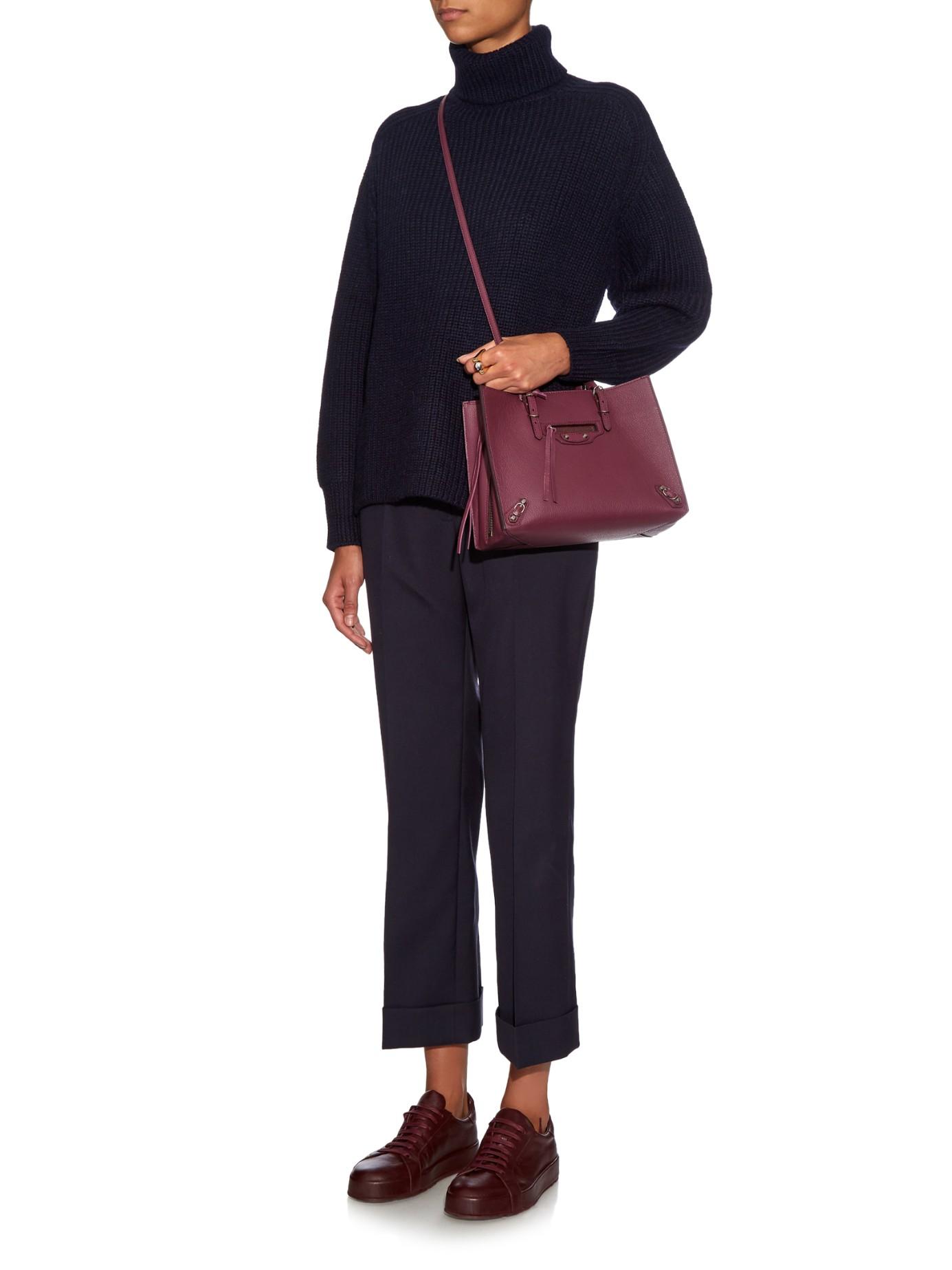 4bb5108e9644 Balenciaga Papier A6 Leather Cross-Body Bag in Purple (BURGUNDY ... Balenciaga  Mini Papier A4 ...