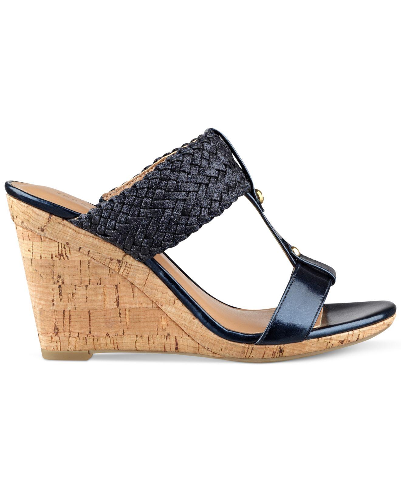 Lyst Tommy Hilfiger Women S Eleona Wedge Sandals In Blue